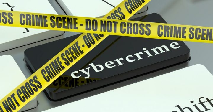 Cybercrime concept, on the computer keyboard